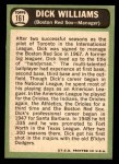 1967 Topps #161  Dick Williams  Back Thumbnail