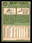 1967 Topps #607  Mickey Stanley  Back Thumbnail