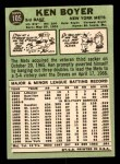 1967 Topps #105  Ken Boyer  Back Thumbnail