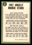 1967 Topps #367   -  Bill Kelso / Don Wallace Angels Rookies Back Thumbnail