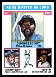 1976 Topps #196   -  George Scott / John Mayberry / Fred Lynn AL RBI Leaders   Front Thumbnail