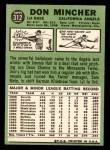1967 Topps #312  Don Mincher  Back Thumbnail