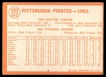 1964 Topps #373   Pirates Team Back Thumbnail