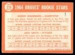 1964 Topps #378   -  Woody Woodward / Jack Smith Braves Rookies Back Thumbnail