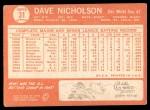1964 Topps #31  Dave Nicholson  Back Thumbnail