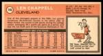 1970 Topps #146  Len Chappell   Back Thumbnail