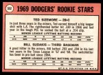 1969 Topps #552   -  Ted Sizemore / Bill Sudakis Dodger's Rookies Back Thumbnail