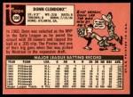 1969 Topps #208 MON Donn Clendenon  Back Thumbnail