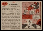 1957 Topps #17  Art Spinney  Back Thumbnail