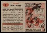 1957 Topps #7  Bobby Watkins  Back Thumbnail