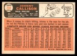 1966 Topps #230  Johnny Callison  Back Thumbnail