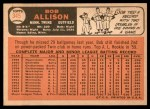 1966 Topps #345  Bob Allison  Back Thumbnail