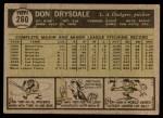 1961 Topps #260  Don Drysdale  Back Thumbnail