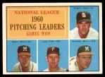 1961 Topps #47 BAR  -  Warren Spahn / Ernie Broglio / Lew Burdette / Vern Law NL Pitching Leaders Front Thumbnail