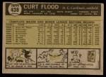 1961 Topps #438  Curt Flood  Back Thumbnail