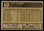 1961 Topps #112  Chico Fernandez  Back Thumbnail