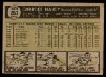1961 Topps #257  Carroll Hardy  Back Thumbnail