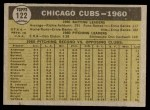 1961 Topps #122   Cubs Team Back Thumbnail