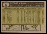 1961 Topps #52  George Crowe  Back Thumbnail