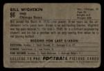 1952 Bowman Small #96  Bill Wightkin  Back Thumbnail