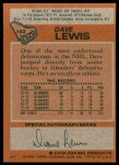 1978 Topps #162  Dave Lewis  Back Thumbnail