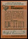 1978 Topps #145  Wilf Paiement  Back Thumbnail