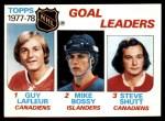 1978 Topps #63   -  Guy Lafleur / Mike Bossy / Steve Shutt League Leaders Front Thumbnail