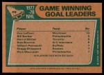 1978 Topps #69   -  Guy Lafleur / Bill Barber / Darryl Sittler / Bob Bourne League Leaders Back Thumbnail