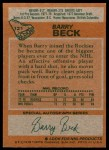 1978 Topps #121  Barry Beck  Back Thumbnail