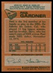 1978 Topps #88  Paul Gardner  Back Thumbnail