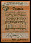 1978 Topps #138  Tim Young  Back Thumbnail