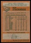 1978 Topps #72  Ron Stackhouse  Back Thumbnail