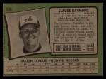1971 Topps #536  Claude Raymond  Back Thumbnail