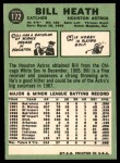 1967 Topps #172  Bill Heath  Back Thumbnail