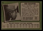 1971 Topps #76  Ted Savage  Back Thumbnail