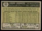 1961 Topps #183 COR Andre Rodgers  Back Thumbnail