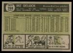 1961 Topps #268 COR Ike Delock  Back Thumbnail