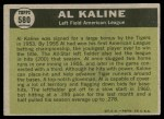 1961 Topps #580   -  Al Kaline All-Star Back Thumbnail