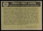 1961 Topps #383   -  Mike McCormick/ Jack Sanford / Billy ODell Frisco First Liners Back Thumbnail