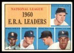 1961 Topps #45   -  Don Drysdale / Bob Friend / Mike McCormick / Stan Williams / Ernie Broglio NL ERA Leaders Front Thumbnail