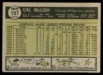 1961 Topps #157  Cal McLish  Back Thumbnail