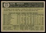 1961 Topps #219  Gene Mauch  Back Thumbnail