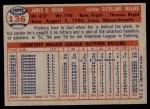 1957 Topps #136  Jim Hegan  Back Thumbnail
