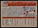 1957 Topps #219  Tom Acker  Back Thumbnail