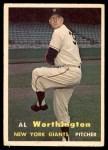 1957 Topps #39  Al Worthington  Front Thumbnail