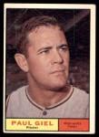 1961 Topps #374  Paul Giel  Front Thumbnail