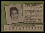 1971 Topps #191  Mike Andrews  Back Thumbnail