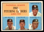 1961 Topps #47 xBAR  -  Warren Spahn / Ernie Broglio / Lew Burdette / Vern Law NL Pitching Leaders Front Thumbnail