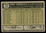 1961 Topps #113  Mike Fornieles  Back Thumbnail