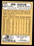 1968 Topps #443  Joe Azcue  Back Thumbnail